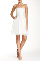 Aidan Mattox Strapless Pleather Bodice Cocktail Dress White