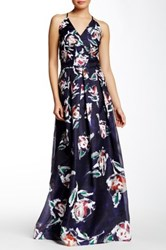 Phoebe Couture V Neck Floral Gown Multi