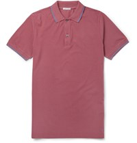 Tomas Maier Slim Fit Contrast Tipped Cotton Pique Polo Shirt Red