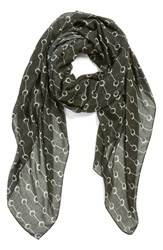 Women's The Kooples Handcuff Print Scarf Black Black White