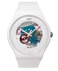 Swatch Watch Unisex Swiss White Lacquered White Silicone Strap 41Mm Suow100