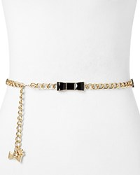 Kate Spade New York Patent Leather Bow Chain Belt Black