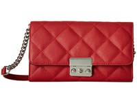 Mighty Purse Vegan Leather Charging Quilted Wallet Bag Red W Silver Buckle Wallet Handbags