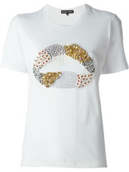 Markus Lupfer Embellished Lips T Shirt White