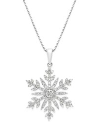 Macy's Diamond 1 3 Ct. T.W. Snowflake Adjustable Pendant Necklace In Sterling Silver