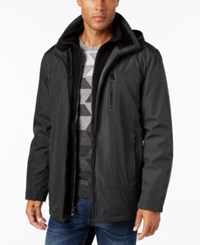 Calvin Klein Men's Big And Tall Hooded Fleece Lined Coat Pewter