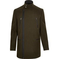 River Island Mens Green Smart Wool Blend Winter Coat