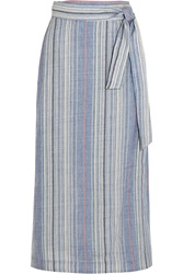 Zimmermann Marisole Striped Wool And Linen Blend Skirt