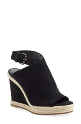 Women's Vince 'Evangeline' Open Toe Wedge Sandal Black Suede