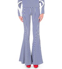 Richard Malone Twisted Flared Knitted Trousers Electric Blue White