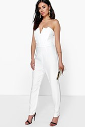 Boohoo Structured Bandeau Tapered Leg Jumpsuit Ivory