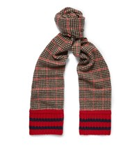 Gucci Houndstooth Wool And Cashmere Blend Scarf Red