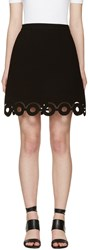 Carven Black Lasercut Circle Miniskirt
