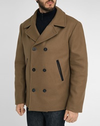 Armor Lux Navy With Contrasting Camel Collar Wool Pea Jacket