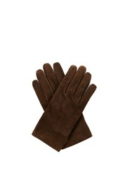Lanvin Wool And Cashmere Blend Lined Suede Gloves Brown