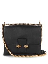 Alexander Mcqueen Twin Skull Leather Cross Body Bag Black