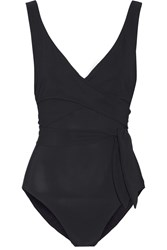 Karla Colletto Wrap Effect Swimsuit Black