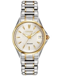 Citizen Women's Automatic Grand Classic Eco Drive Diamond Accent Two Tone Stainless Steel Bracelet Watch 33Mm Pa0004 53A Women's Shoes