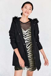 Pins And Needles Whistler Faux Fur Trim Parka Black