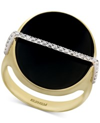 Effy Eclipse By Black Onyx 20Mm And Diamond 1 10 Ct. T.W. Statement Ring In 14K Gold Yellow Gold