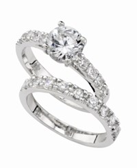 Charter Club Ring Set Cubic Zirconia Engagement 3 Ct. T.W. Slv Clr
