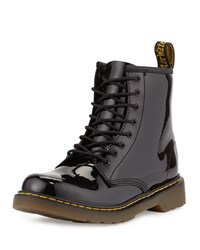 Dr. Martens Delaney Patent Leather Military Boot Black Youth