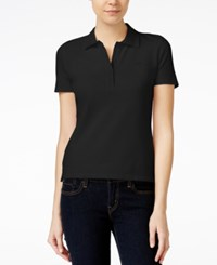 Armani Exchange Short Sleeve Polo Top Solid Black