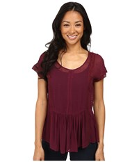 Lucky Brand Lace Peplum Top Burgundy Women's Short Sleeve Pullover