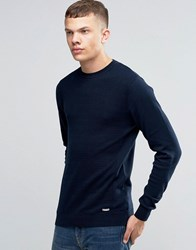 Bench Crew Neck Contrast Knitted Jumper Navy