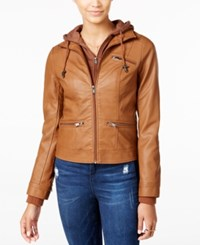 American Rag Knit Hood Faux Leather Jacket Only At Macy's Cognac