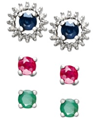 Macy's Sterling Silver Sapphire Ruby Emerald And Diamond Jacket Interchangeable Stud Earring Set
