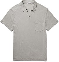 James Perse Slub Linen And Cotton Blend Jersey Polo Shirt Gray