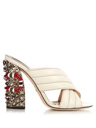 Gucci Webby Embellished Heel Mules White