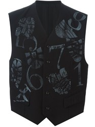 Comme Des Garcons Vintage Footprint And Number Waistcoat Black
