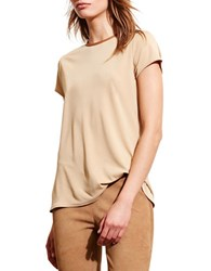 Lauren Ralph Lauren Faux Leather Trim Jersey Tee Tan