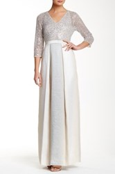 Kay Unger V Neck 3 4 Length Sleeve Sequin Gown Gray
