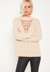 Missguided Nude Lace Up Turtleneck Cable Jumper Camel
