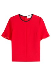 Victoria Victoria Beckham Wool Top With Flounce Cuffs Red