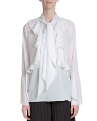 Givenchy Ruffle Front Neck Tie Blouse White