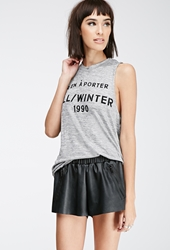 Forever 21 Zippered Faux Leather Shorts Black White