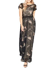 Miss Selfridge Lace And Floral Embroidered Maxi Dress Black Multi