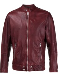 Diesel Zipped Leather Jacket Red