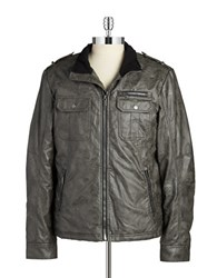 William Rast Faux Leather Moto Jacket Grey