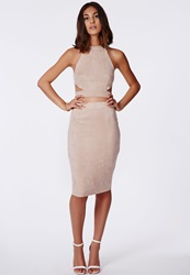 Missguided Berryana Faux Suede Midi Skirt Taupe Grey