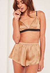 Missguided Gold Bralet Pyjama Set