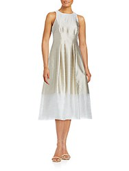Kay Unger Illusion Stripe A Line Dress Champagne