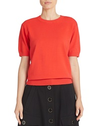 Dkny Cropped Short Sleeve Sweater Red