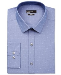 Bar Iii Men's Slim Fit Chambray Geo Pattern Dobby Dress Shirt Only At Macy's Blue