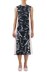 Topshop Women's Boutique Side Stripe Bird Print Midi Dress