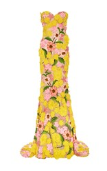 Naeem Khan Garden Variety Sweetheart Neck Gown Yellow Pink Green